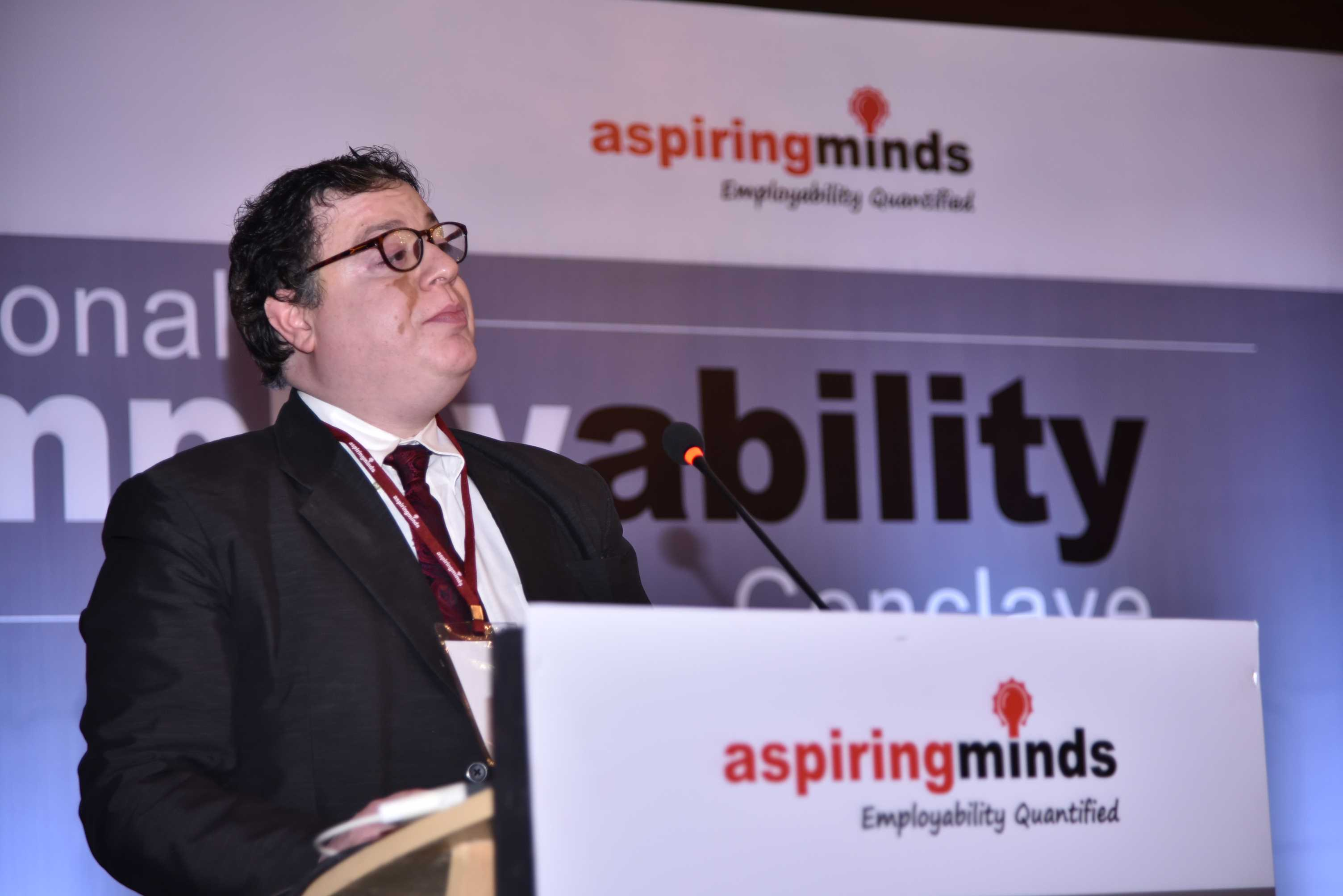 Ankush Minocha addresses the audience at the Aspiring Minds National Employability Conclave.