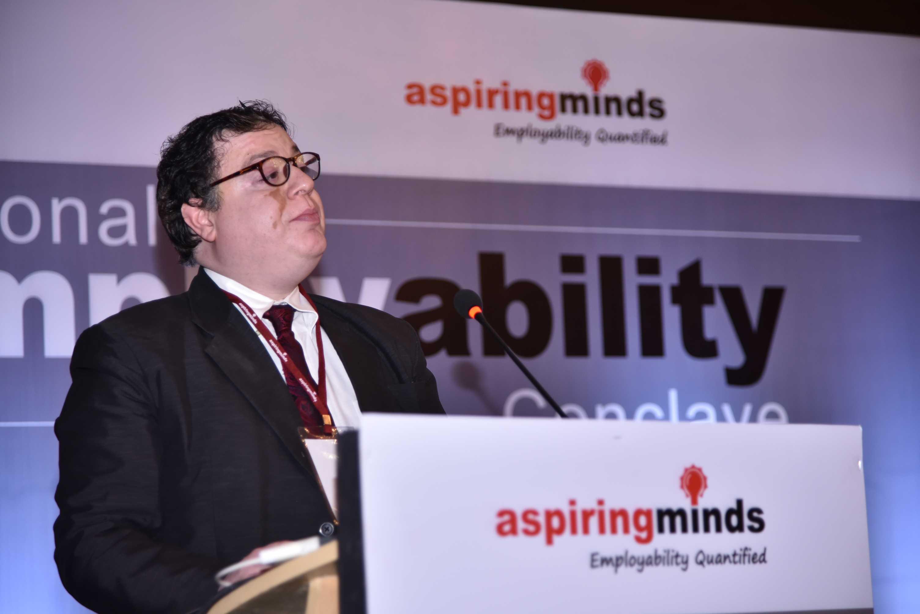 Ankush Minocha addresses the audience at the Aspiring Minds National Employability Conclave.