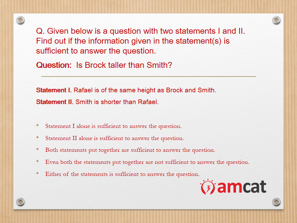 An example of a deductive reasoning question in the AMCAT logical reasoning section.