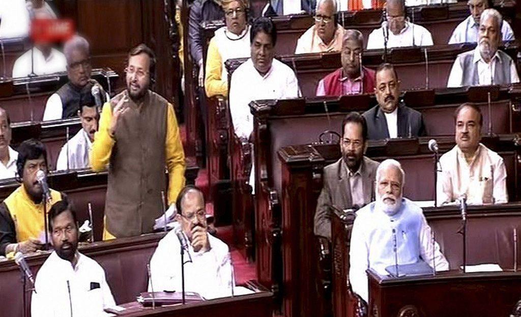 Prakash Javadekar speaks during a parliament session in the Rajya Sabha. (Telangana TV)