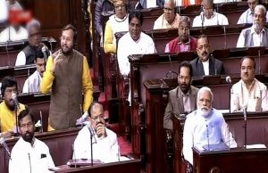 Prakash Javadekar speaks during a parliament session in the Rajya Sabha. (Telangana TV)