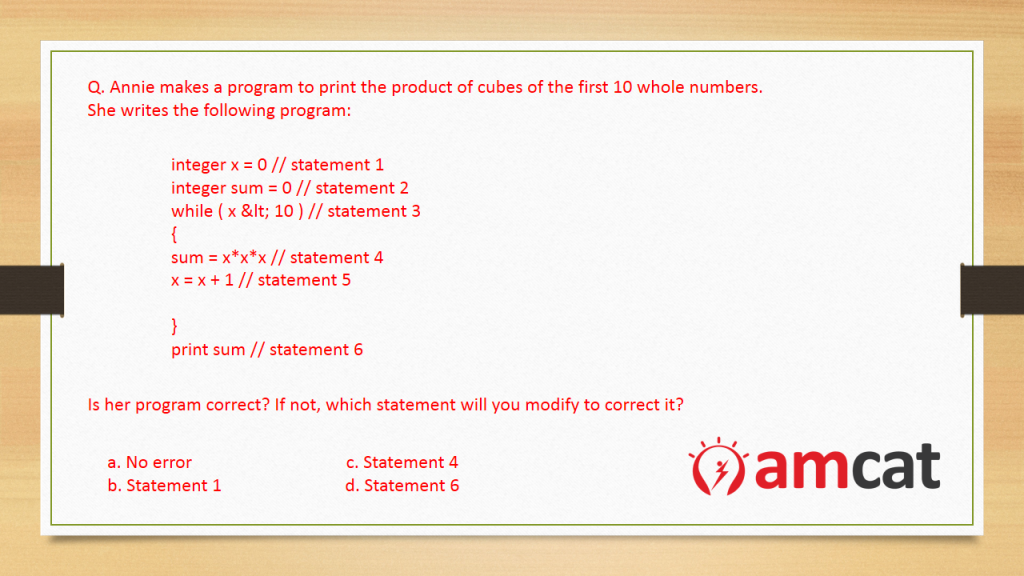 Question from the AMCAT Computer Science Test for Computer Programming.
