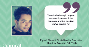 Piyush Mewati's journey towards becoming an Aglasem hire.