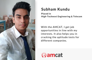Subham Kundu reviews his AMCAT experience in this AMCAT testimonial.