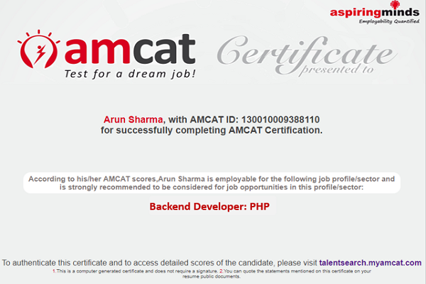 AMCAT Back-End Developer (PHP) certificate.