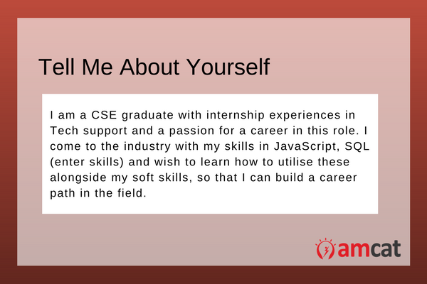 A model answer for a CSE graduate, asked the question - Tell Me About Yourself.