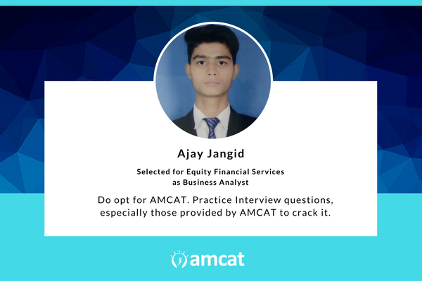 Ajay Jangid shares his AMCAT Success Story.