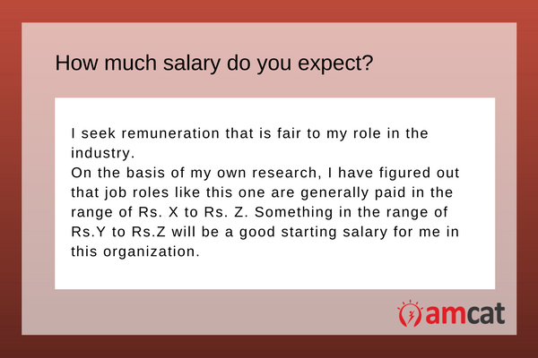 A model answer on salary expectations for a fresher.