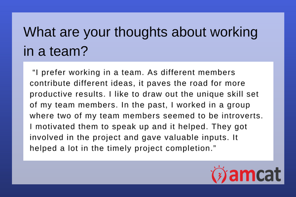A model answer when asked 'What are your thoughts on working with a team'.