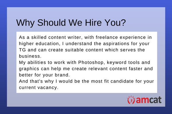 A model answer for a six-month content writer asked 'Why Should We Hire You'.