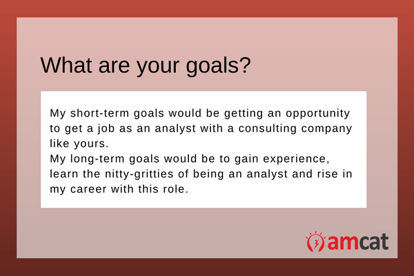 A model answer for an analyst on what are your goals.