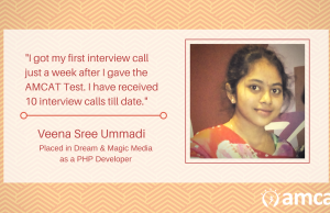 Learn how Veena Shree was able to succeed, thanks to a good AMCAT score.