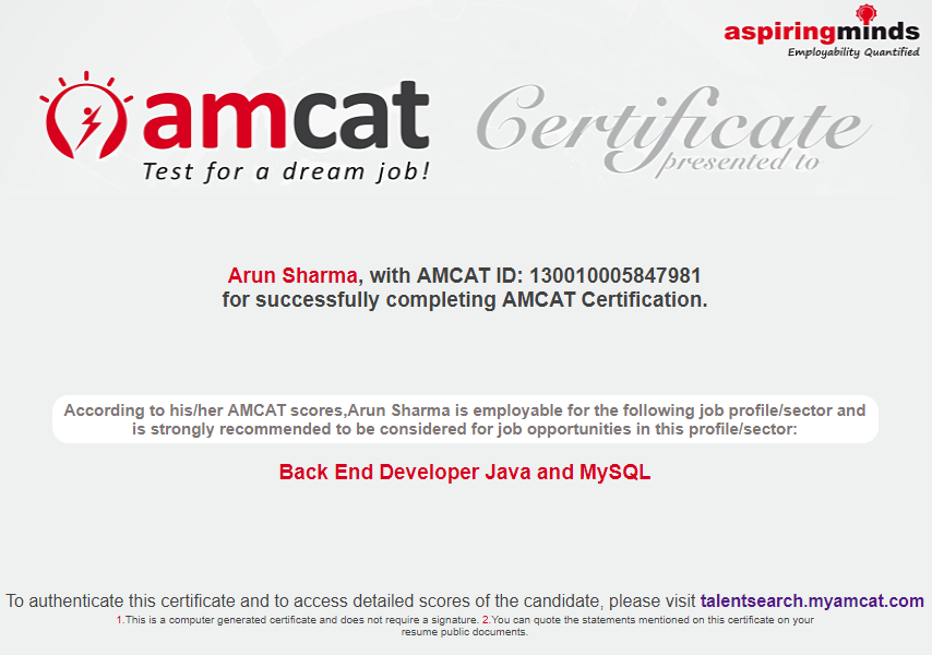 AMCAT Certification