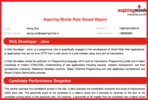 A screenshot of your AMCAT Web Developer JAVA certification report.