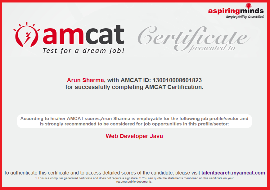 The AMCAT Web Developer JAVA certification.